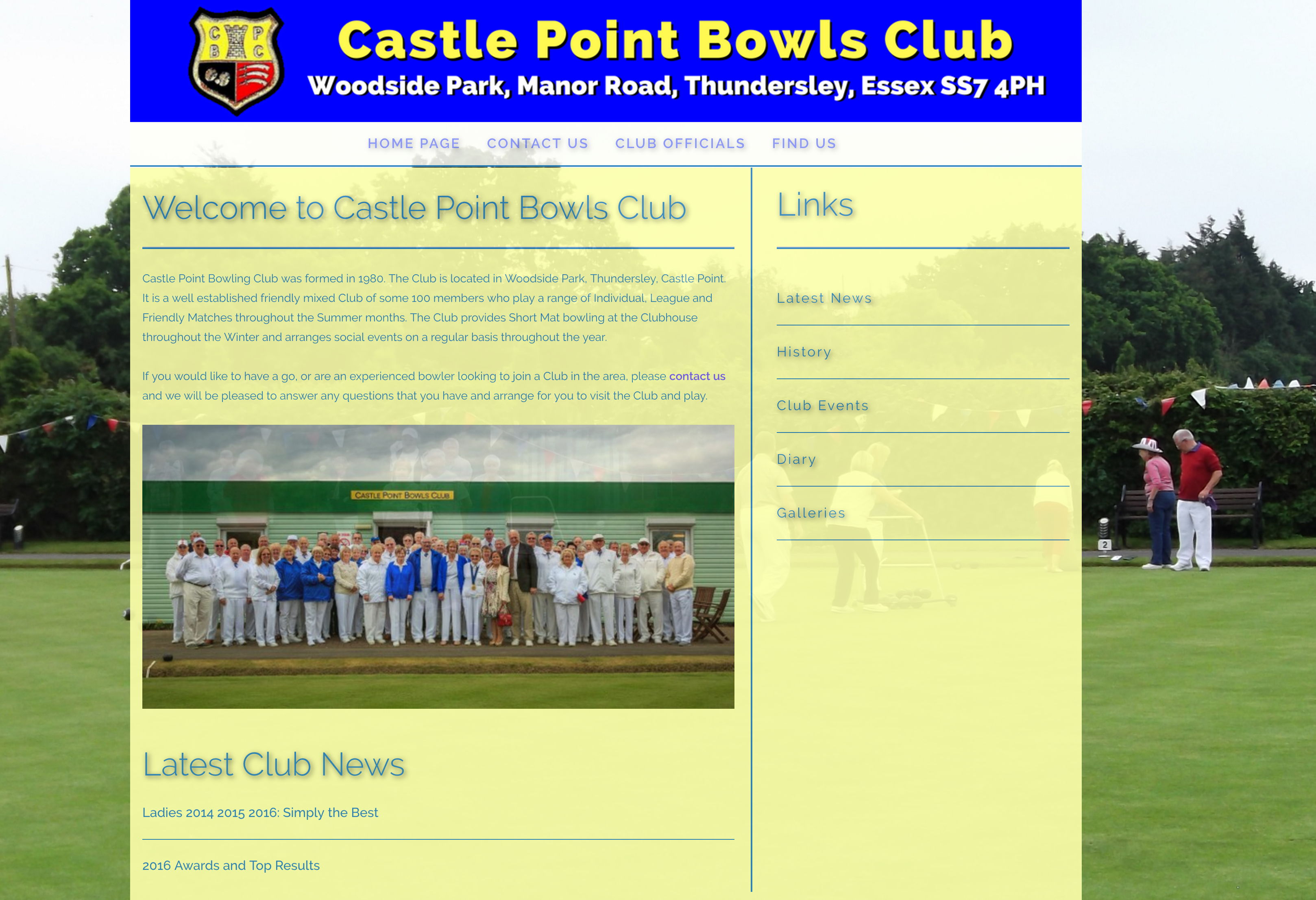 Castle Point Bowls Club Home page image